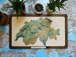 Design Landkarte Schweiz 3D Holzmap Woodmap Gelasert Handarbeit Karte aus Holz
