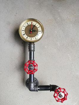 Industrie Wanduhr Eisenuhr aus Rohren Rohruhr Pipe Industrial Urban Style Design Uhr