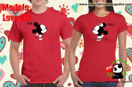 Dúo de Playeras rojas Mickey y Minnie Kiss