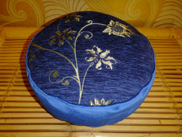 Meditationskissen, Yogakissen,Sitzkissen, Silberblume auf Blau