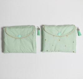 Pochette à barrettes menthe à l'eau