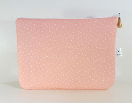 Trousse plate rose corail, petits triangles