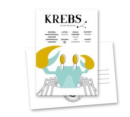 Postkarte: Sternzeichen KREBS