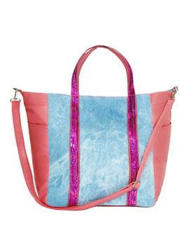 Jeans-Shopper mit Pailletten, pink