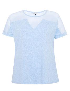 T-Shirt Kurzarm mit Netzeinsatz, hellblau