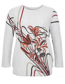Feinstrick-Pulli grau mit Blumenmuster
