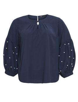 Bluse mit Ballonärmel, marineblau