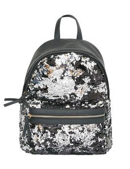 Rucksack, schwarz mit silber Pailletten bestickt