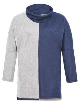 Rollkragen Pullover, blau-grau