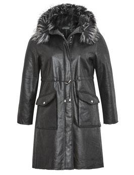 Mantel aus Wildlederimitat mit Teddyfutter, schwarz