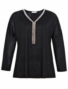 Feinstrick-Pullover mit Perlen besetztem V-Ausschnitt