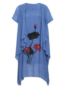 Layerkleid, blau mit Blumendruck