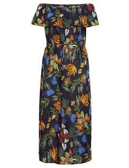 Carmenkleid lang, dunkelblau mit tropischen Muster