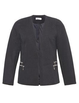 Blazer-Jacke in Waffelpiqué, schwarz