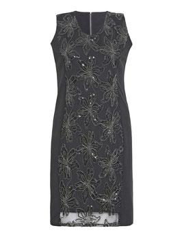 Kleid mit gestickten Blumen aus Pailletten, schwarz