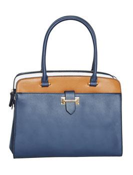City-Handtasche, blau-braun