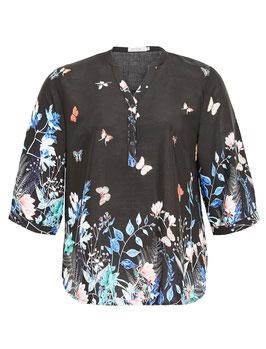 Bluse mit Schmetterlingsdruck, schwarz 3/4 Arm