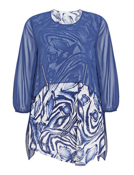 Volant-Kleid mit Chiffon, blau