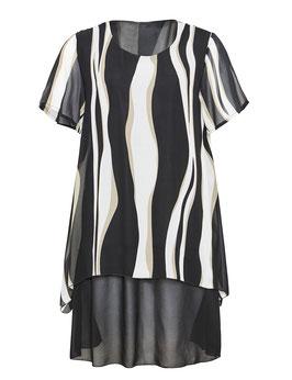 Chiffon-Kleid, schwarz mit Wellenmuster