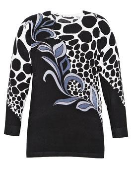 Long-Pullover mit schwarz/weiß Blättern