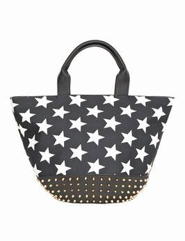 Shopper mit Sternen und Nieten, schwarz