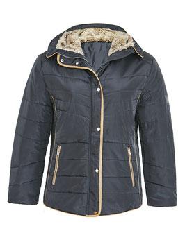 Stepp-Jacke mit Pelzimitat-Kapuze, schwarz
