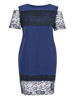 Kleid in dunkelblau mit schwarzer Spitze