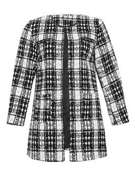 Tweed-Mantel mit gewebten Karomuster, schwarz weiß