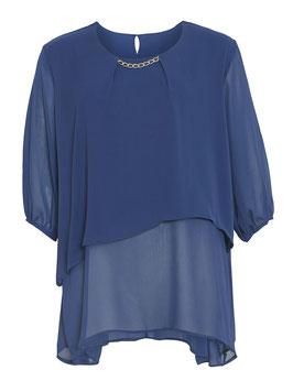 Chiffon-Tunika, blau mit Goldkette