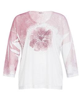 Pulli mit  Blume und Perlen-Applikation, weiß-rosa
