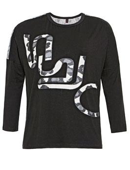 Sweatshirt mit Camouflageprint, vorne schwarz, hinten grau