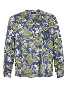 Bluse mit Blumendruck, blau-grün