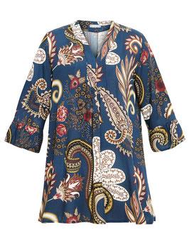 Tunika-Kleid, blau mit Muster