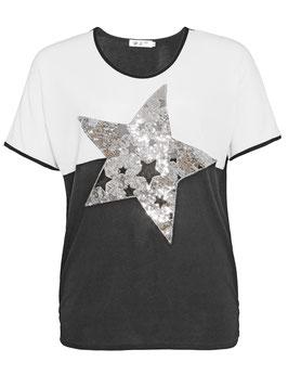 T-Shirt schwarz-weiß mit Paillettenstern