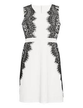 Etui-Kleid, weiß mit schwarzer Spitze