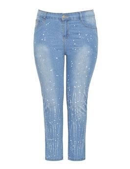 regular Jeans mit weißen Farbspritzer