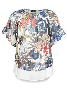 Carmen-Bluse, weiß mit Blumenmuster