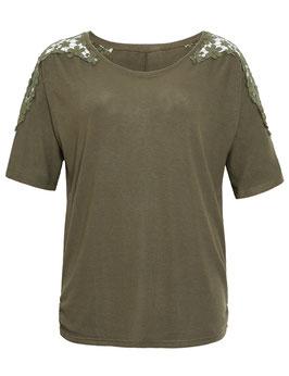 T-Shirt khaki mit gehäkelter Spitze