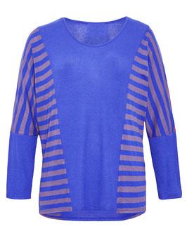 Pullover mit Fledermausärmel, blau mit braunen Streifen
