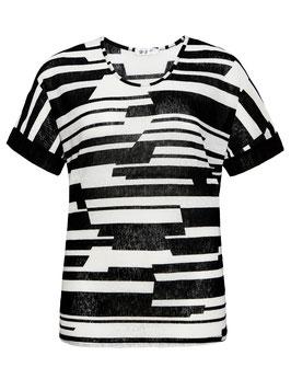 T-Shirt mit Grafikstreifen, schwarz-weiß