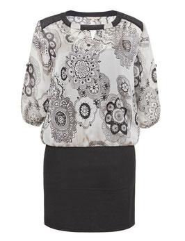 Kleid mit Stretchrock und besticktem Chiffonoberteil