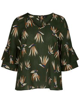 Bluse mit Muster und Rüschenärmeln, oliv