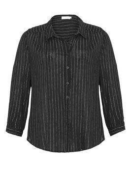 Baumwoll-Bluse mit silbernen Streifen, schwarz