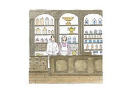 Pharmacie aquarelle originale