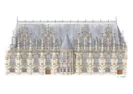 Carte postale Palais de justice, rue aux Juifs - Rouen