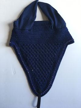Bonnet long marine, strass bleu roi [sur commande]