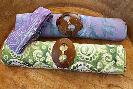 Sarong-Set lila/türkis und grün/Muscheln + Bandana lila
