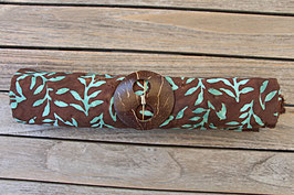 Sarong dunkelbraun mit Blättern in türkis
