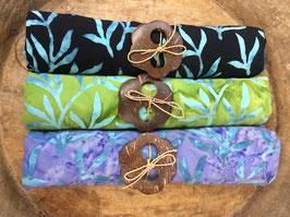 Dreier-Set: gleiche Designs - verschiedene Grundfarben - alle mit Palmblätter in türkis