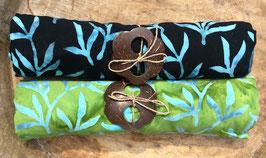 Zweier-Set: verschiedene Grundfarben - beide mit Palmblätter in türkis